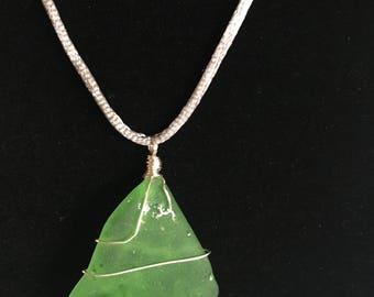 Green Sea Glass on Silver Silky Cord Necklace