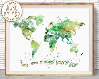 Oh the Places You'll Go World Map Print World Map Poster Wall Art Nursery Wall Art Nursery Decor Nursery Art ArtPrintZoneGift for Women