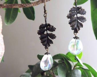 Baroque Earrings: ornate bronze leaf, iridescent Teardrop Pearl.