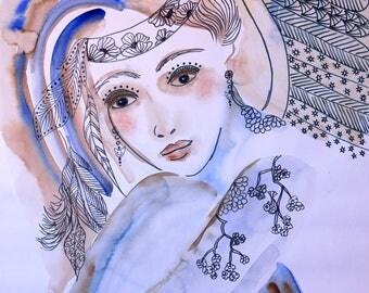 "Contemporary art, Large Acrylics Canvas, Original Art, ""Angel"", Original Art, Portrait"