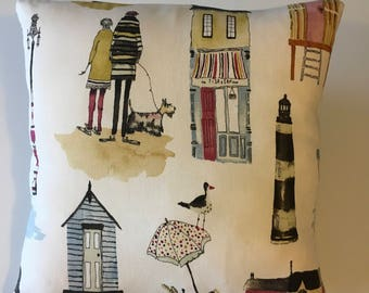Beachcomber cushion- vintage seaside town on natural