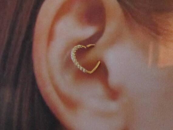 14k rose gold daith piercing multi cz bendable heart