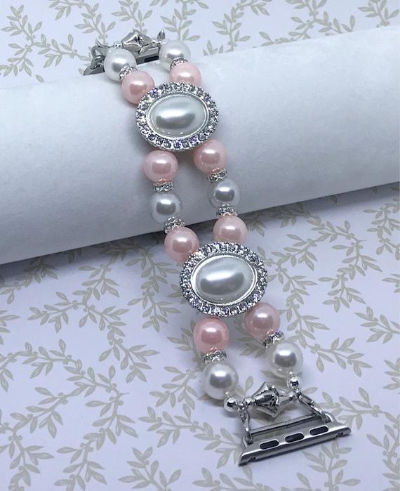 """Apple Watch Band, Women Bead Bracelet Watch Band, iWatch Strap, Apple Watch 38mm, Apple Watch 42mm, Pink White Silver Faux Pearls, 6 1/2"""""""