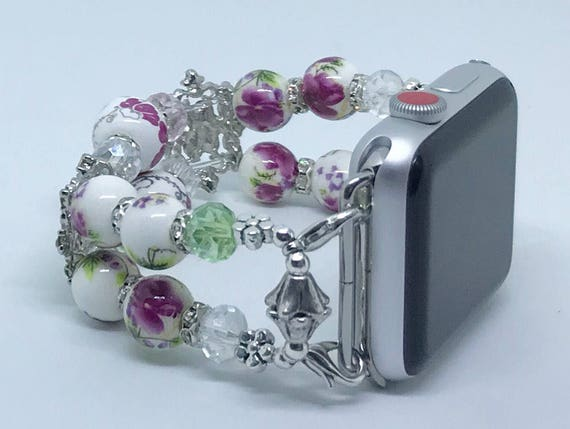 Apple Watch Band, Women Bead Bracelet Watch Band, iWatch Strap, Apple Watch 38mm, Apple Watch 42mm, Pink White Green  Floral Swarovski 6 3/4