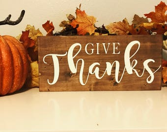 Thanksgiving wood sign, thankful sign, fall home decor, autumn home decor, Give Thanks, Fall wood sign