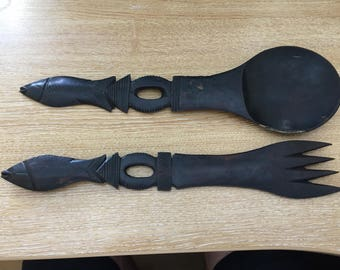 Hand carved wooden serving spoon and fork