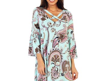 Style By Chris  Mint with Mauve A-Line Swing Dress with Bell Sleeves