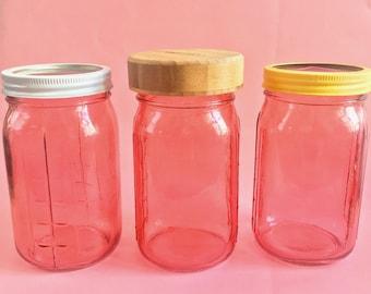 Rustic Pink Mason Jars | Quart Size | Customize Your Lid! | Farmhouse Decor & Kitchen Storage