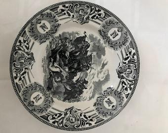 Boch Freres La Louviere Belgium c1920s, black transferware, Napoleonic Wars, Combat de Benhout 8 Mars 1799