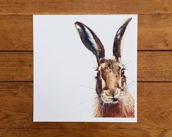 Hare giclée print - unmounted print - hare print - hare painting - hare art - 20 x 20cm