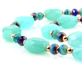 Blue/Green Chalcedony Faceted Gemstone Necklace with Fire-Polished Glass and Copper