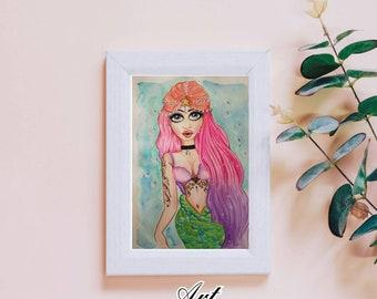 Art print magical mermaid drawing