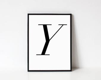 Scandinavian Printable Letter Print, Letter Y, Black and White Typography Art