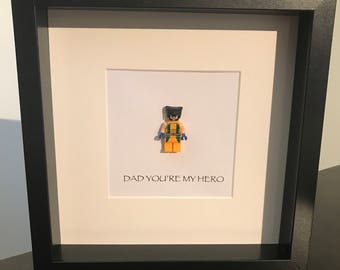 Wolverine 'Dad you're my hero' lego frame