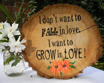 Grow in Love Sign Wood Wedding Engagement Gift