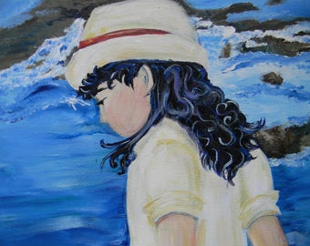 Beach Little Girl Painting