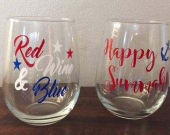Red, Wine & Blue Wine Glass, Red, White and Blue, 4th of July, July 4th wine glass, Housewarming gift, Summer Party Gift, pool party gift