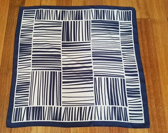 Vintage 70's Navy & White Striped Pattern Square Scarf