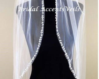 1T Single Layer Swarovski Crystal Pearl Beaded Wedding Bridal Veil in White, Diamond White or Ivory - Fingertip, Cathedral Length