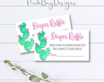 Cactus Diaper Raffle Tickets, Diaper Raffle Insert, Diaper Raffle Ticket, Cactus Baby Shower, Cactus Printable, Baby Shower Insert, Print