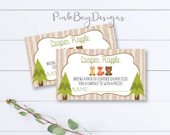 Woodland Diaper Raffle Ticket, Woodland Baby Shower Diaper Raffle, Diaper Raffle Printable, Diaper Raffle Card, Animal Diaper Raffle Ticket