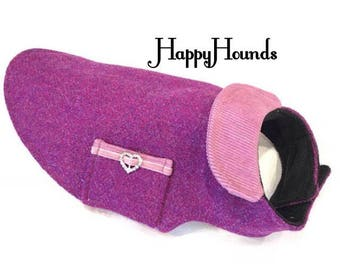 Stunning Lilac and Pink weave luxury Harris Tweed Coat/Jacket. Fleece lining for added warmth.