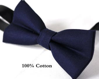 Boy Kids Baby 100% Cotton NAVY Blue Bow Tie Bowtie Party Wedding 1-6 Years Old