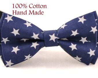 MEN Women 100% Cotton Navy Blue White Stars Craft Bow Tie Bowtie Wedding Party