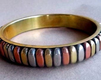 Vintage Handmade Brass Metal & Copper Bracelet