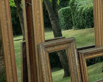Pair of Large Antique Heavy Molded Gilt Mirror