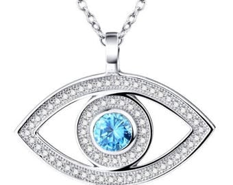 925 Sterling Silver CZ Evil Eye Necklace Pendant with 18inch Rolo Chain Women Jewelry Collar Necklace