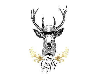 Sketch Logo Design, Designer Logo, Custom Logo Design, Antler Logo, Business Logo, Royal Logo, Boutique Logo, Hand Drawn Logo