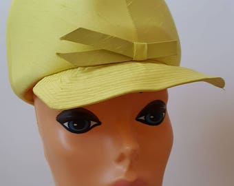 Lemon Yellow Silk Hat / Union Made Mod Twiggy Style Cap