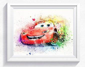 80%OFF Cars print, cars wall decor, Cars printable, McQueen print, McQueen watercolor, ZigZag art print, ZigZag printable, ZigZag watercolor