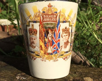 King George V and Queen Mary Silver Jubilee beaker 1935