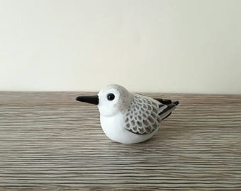 Sandpiper Sanderling miniature handmade hand painted polymer clay animal figurine totem sculpture ornament