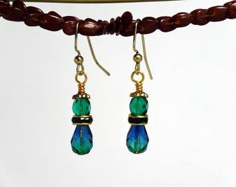 Handmade drop earrings in blue green Czech beads