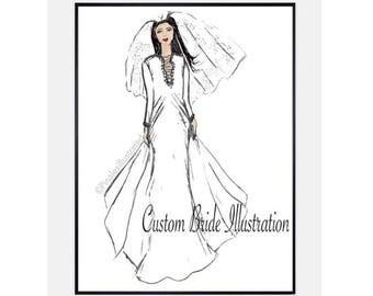 Custom Wedding, Bride Illustration, Bride Gifts