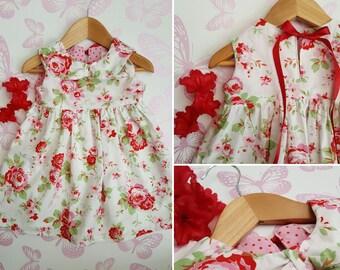 18-24 m Baby Girl Floral Dress, Baby Dress, Toddler Dress, Flower Dress, Collar, Red Ribbon, Rose Print 1st Birthday Dress, Little Girl Pink