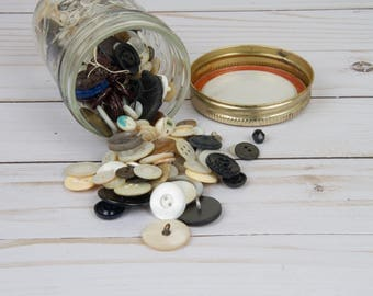 Vintage Buttons - Small Jar of Buttons - Upcycled Buttons - Vintage Sewing Supplies - Vintage Sewing Notions - Buttons - Sewing Supplies