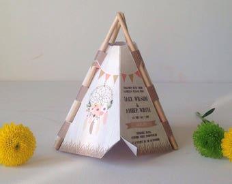 Tipi festival themed wedding invitation barn wedding rustic