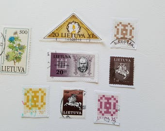 Setx8 LITHUANIA Vintage Postage Post Stamp, Antique Postal Stamps, Collectible stamps, Collection philately LT1