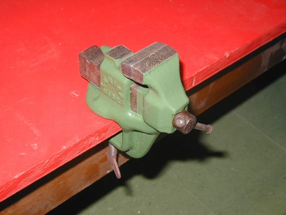 Bonnie Cast Iron Bench Vise Clamp On Type Usa Made Vintage