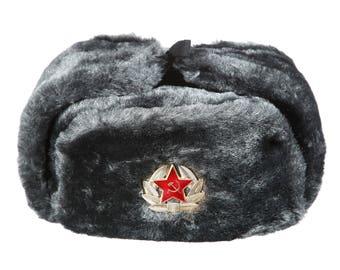 Russian / USSR Army Winter Gray Fur Ushanka Hat + Soviet Red Star Badge Sizes S,M,L,XL,XXL