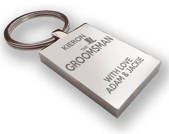 Personalised engraved GROOMSMAN keyring wedding gift, thank you favour, top hat - HA3