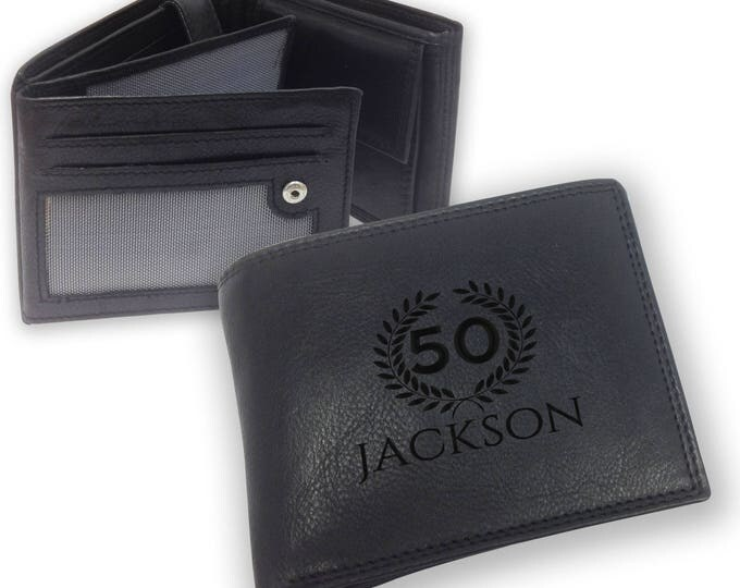 Personalised engraved 50th birthday LEATHER WALLET gift with coin purse - trifold personalized wallet, laurel - SAMBW50
