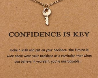Confidence Is Key- Dogeared Charm Necklace- Gold Key Charm- Jewelry
