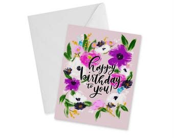Happy Birthday, You're the Best, Blank Notecard and Envelope, Floral Momma, Gift For Her, Gift For Mom, Greeting Card, 4.25 in. x 5.5 in.