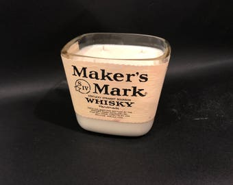Huge 1.75L vs 750ML Makers Mark Candle Bourbon Whiskey Soy Candle  Made To Order !!!!!!!