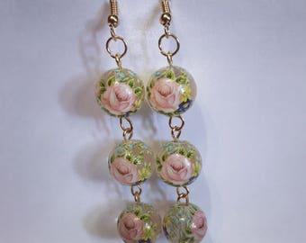 Rose chain link earrings